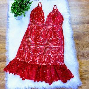 Charlotte Russe Red Lace Slip Mini Dress MD